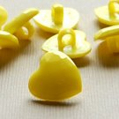 8 Light Yellow Heart Shaped Buttons for Sewing
