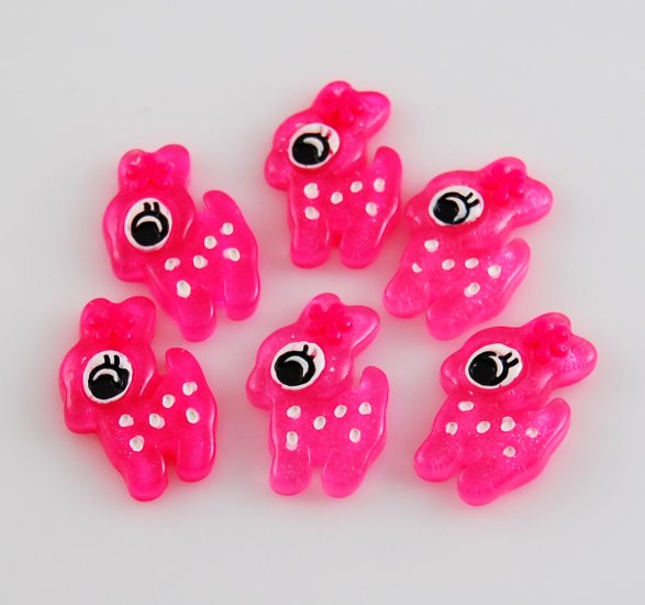 6 Pink Fawn Resin Flatback - Glittery