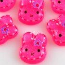 6 Pink Bunny Resin Flatback - Glittery