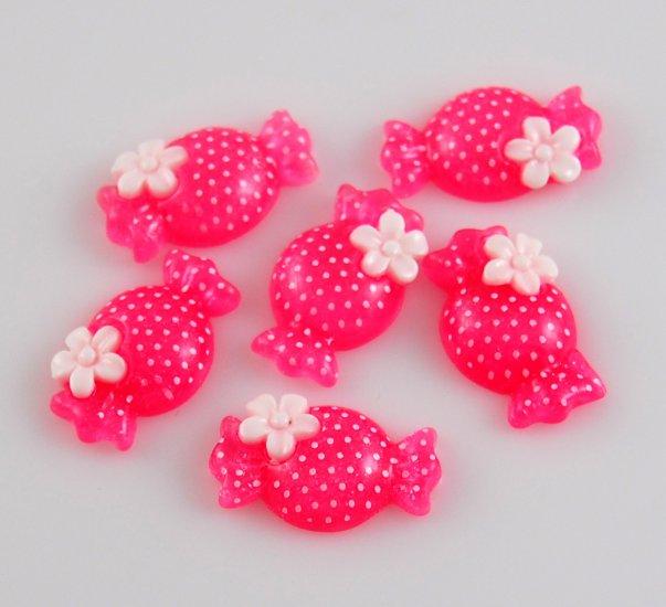 6 Pink Candy Resin Flatback - Glittery