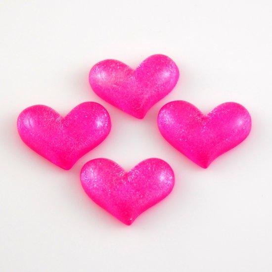 4 Pink Heart Shaped Resin Flatback - Glittery