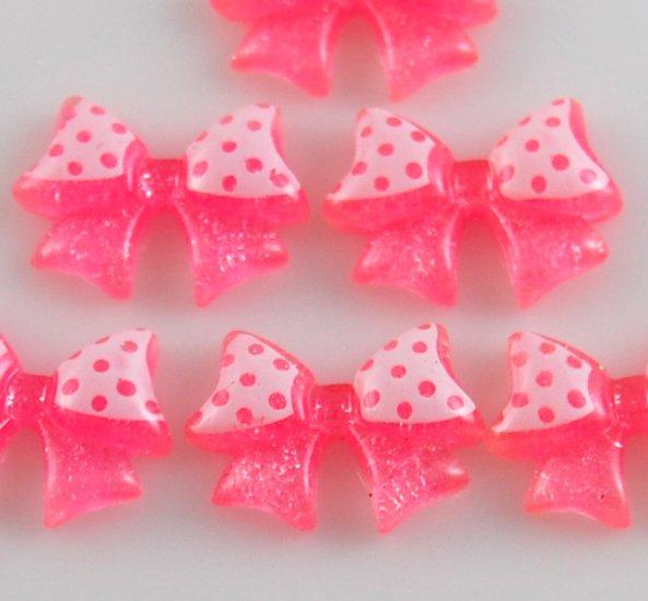 6 Light Pink Bow Resin Flatback - Glittery
