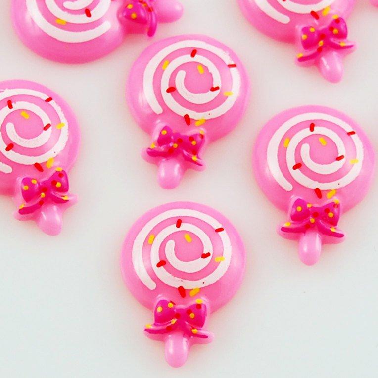 6 Kawaii Pink Lollipop Resin Flatbacks