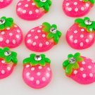 6 Pink Strawberry Resin Flatbacks + Rhinestone