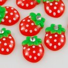 6 Red Strawberry Resin Flatbacks + Rhinestone
