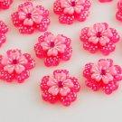 6 Pink Flower Resin Cabochons + Rhinestone