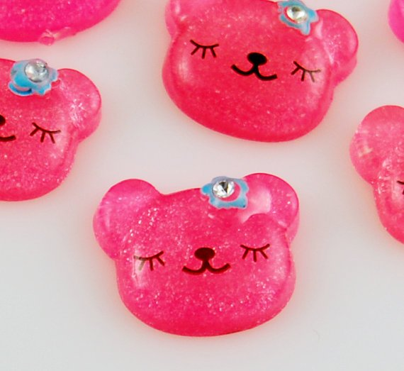 6 Dark Pink Bear Resin Cabochons