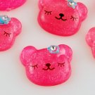 6 Dark Pink Bear Resin Cabochons