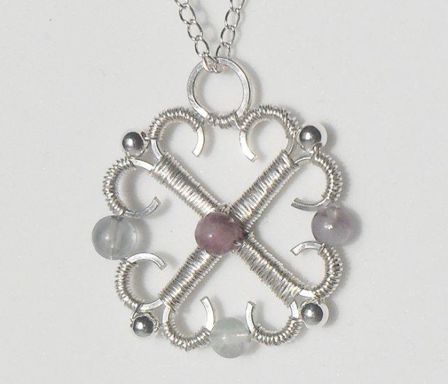 Flourite and Silver Pendant
