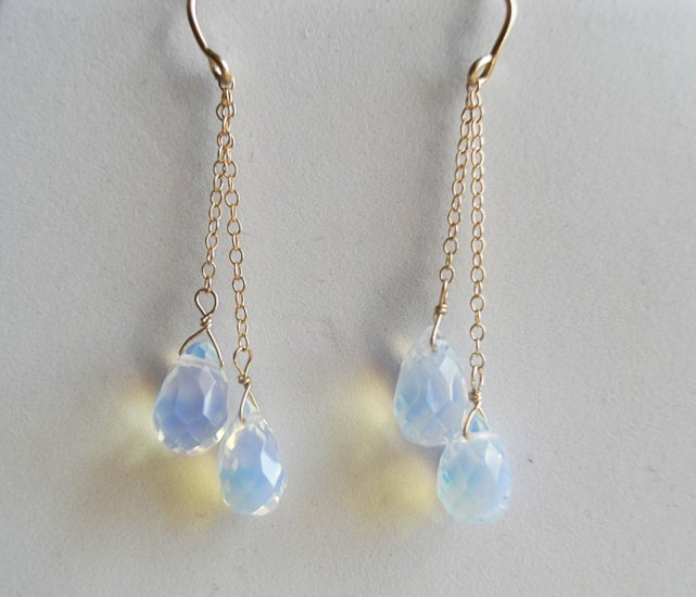 Sea Opal Dangle Earrings