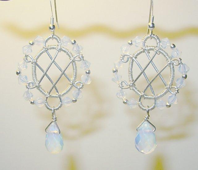Sea Opal and Silver Earrings