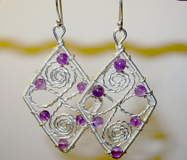 Amethyst and Silver Diamond-shaped Earrings
