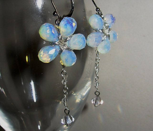 Sea Opal Flower Dangles Earrings