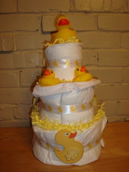 3 Tier Diaper Cake - Duck Bath Time