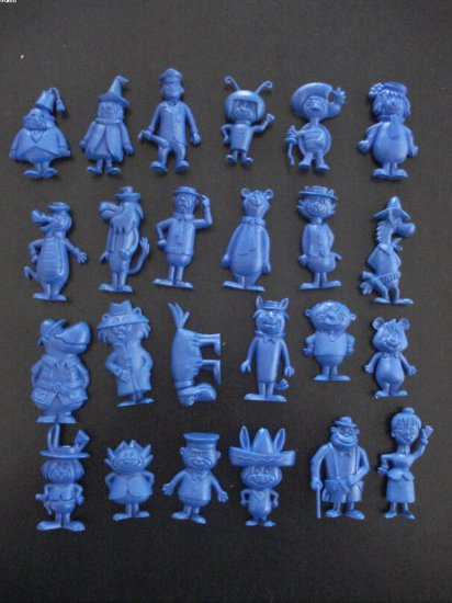 24 rare Hanna Barbera plastic figures in blue color