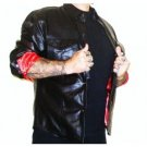 Mens lambskin leather RED LINED motorcycle biker riding shirt little joes ha leather