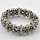 Silvertone Rhodium Stretch Bracelet with Rhinestone