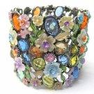 Crystal Blossom Wide Adjustable Cuff Bracelet