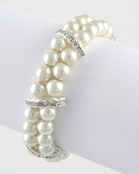 Faux Pearl & Rhinesteone Double Row Stretch Bracelet