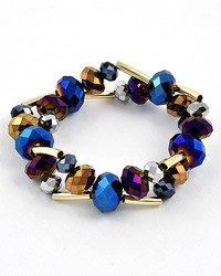 Gold tone/Meridian Blue Stretch Bracelet