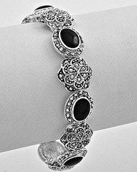Silver & Black Stretch Bracelet
