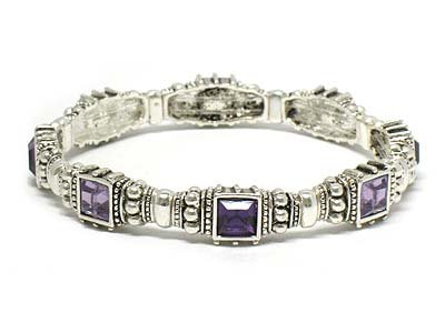 Silver with Amethyst Colored Crystals Stretch Bracelet