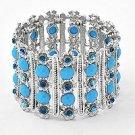 Slver & Aqua Wide Cuff Stretch Bracelet