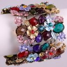 Faux Antique Looking Flower Stretch Cuff Bracelet