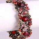 Faux Antique Metal & Red Rhinestone Bracelet