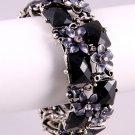Faux Antique & Black Stone Adjustable Bracelet