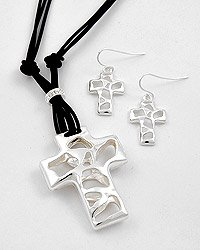 Silver tone Cross Necklace and Earring Set