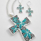 Silver & Turquoise Cross Necklace and Earring Set