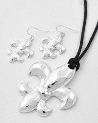 Silver Fleur De Lis Necklace & Earring Set