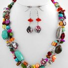 Multi Colored, Multi Strand Necklace and Earring Set