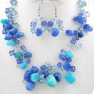 Blue Multi Strand Necklace & Earring Set
