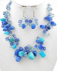 Blue Multi Strand Necklace & Earring Set
