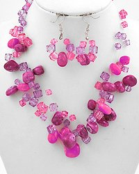Purple Multi Strand Necklace & Earring Set