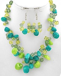 Green Multi Strand Necklace & Earring Set