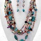 Multi Color, Multi Strand Necklace & Earring Set