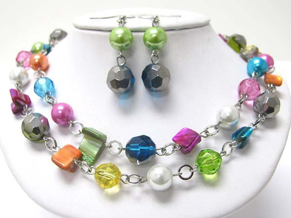 Multi Color, Double Strand Necklace & Earring Set