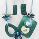 Turquoise Wood Trendy Necklace & Earring Set