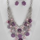 Trendy Rhodium / Purple Flower Necklace & Earring Set