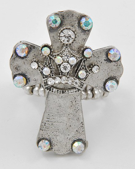 Faux Antique Stretch Cross Ring