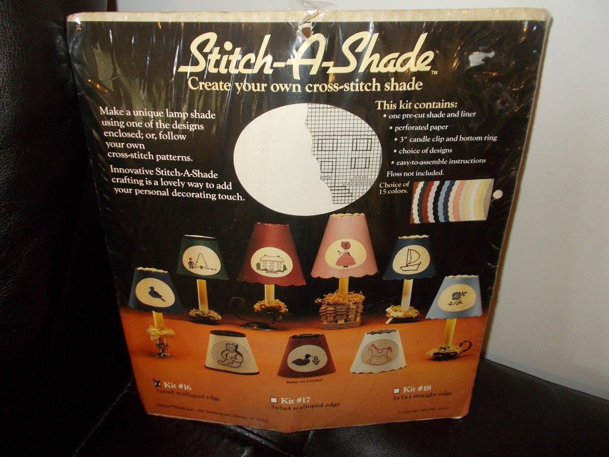 Vintage Cross Stitch Kit to make a Lamp Shade Wood World Inc 1985 make a 3x6x6 Scalloped