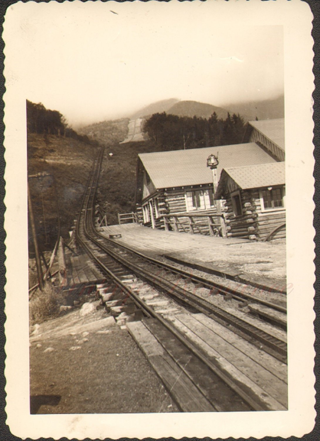 Cog Railway Office Log Cabins Dirt Road Vintage Photo 1942