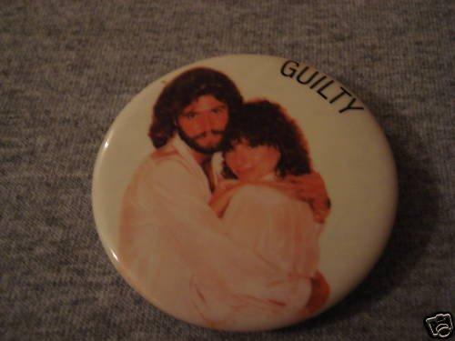 "Barbra Streisand & Barry Gibb ""Guilty"" Button 1980"