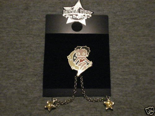 Betty Boop Sitting On The Crescent Moon Pin - Rare!