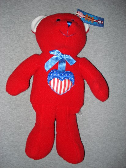 "17"" Red Bear with Patriotic Heart - Sugar Loaf"