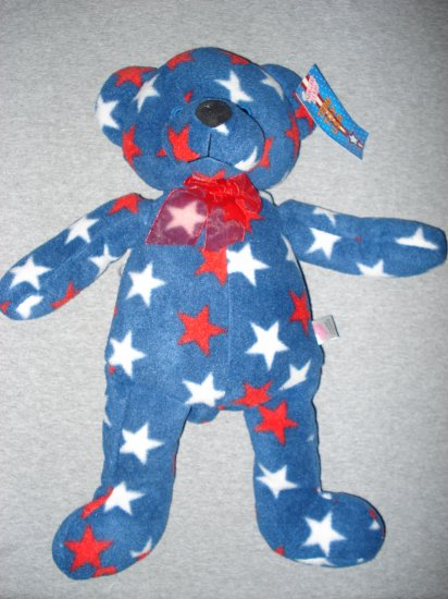 """19"""" Blue Bear with Red & White Stars - Sugar Loaf"""