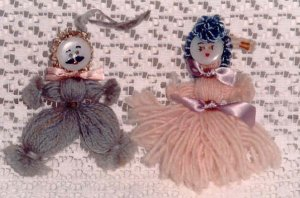 Vintage Yarn & Button made Dolls from the 1950's